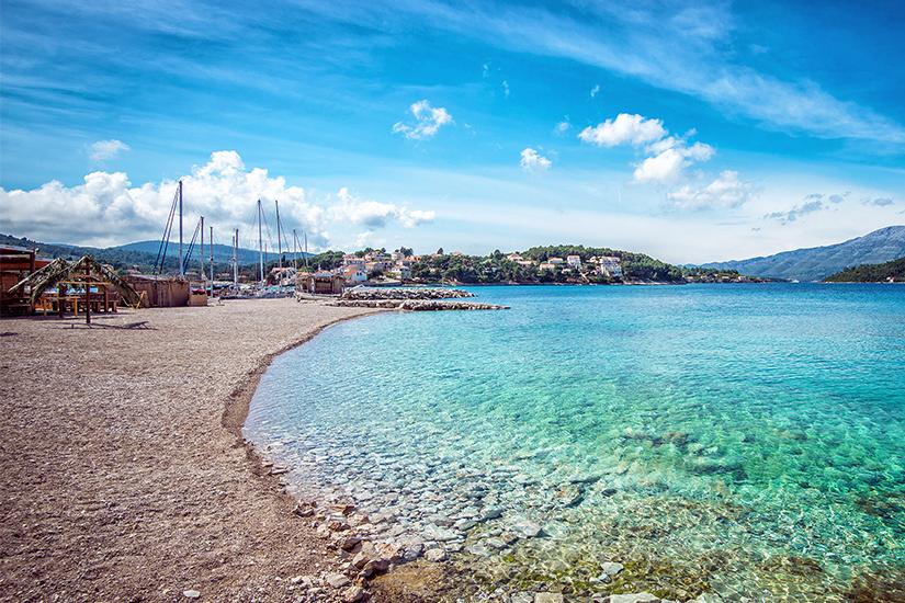Strand in Lumbarda, Kroatien