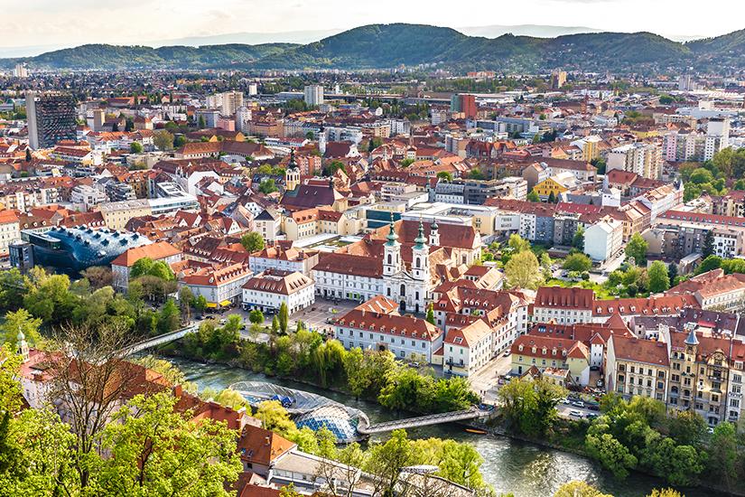 Blick auf Graz an der Mur