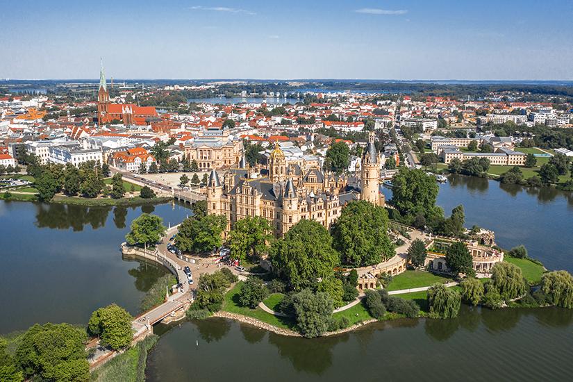 Blick auf Schwerin und das Schloss