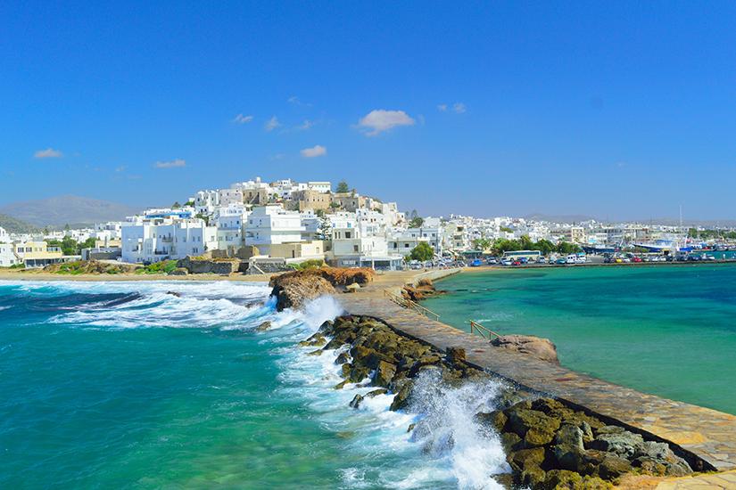 Naxos-Stadt vom Meer aus