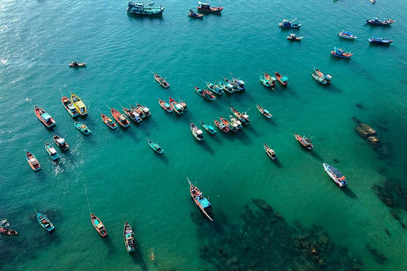 Boote vor der Insel Phu Quoc