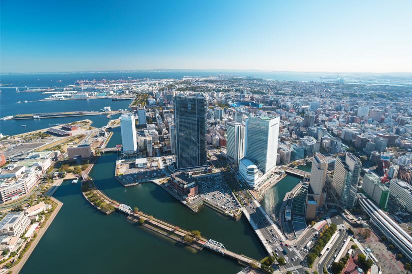 Yokohama aus der Luftperspektive
