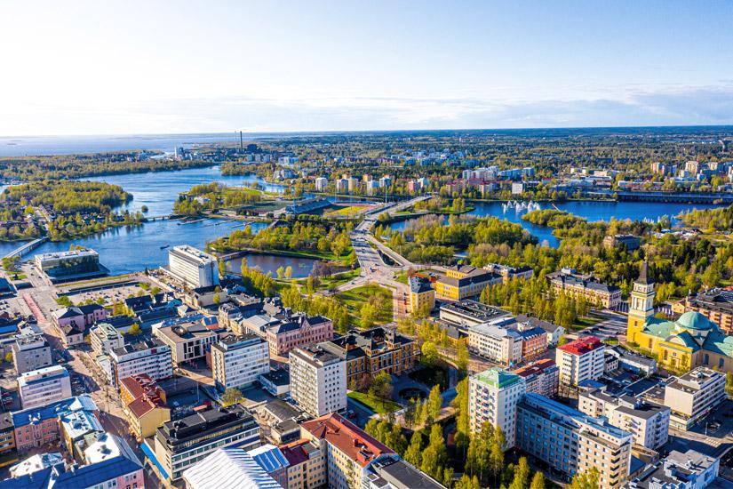 Oulu aus der Vogelperspektive