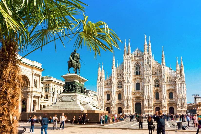 Reiterstandbild und Dom in Mailand