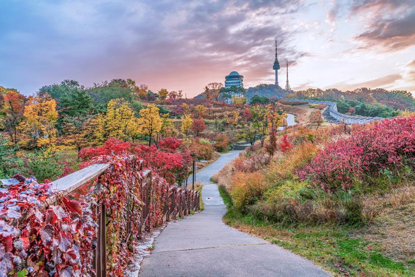 Weg zum N Seoul Tower im Herbst