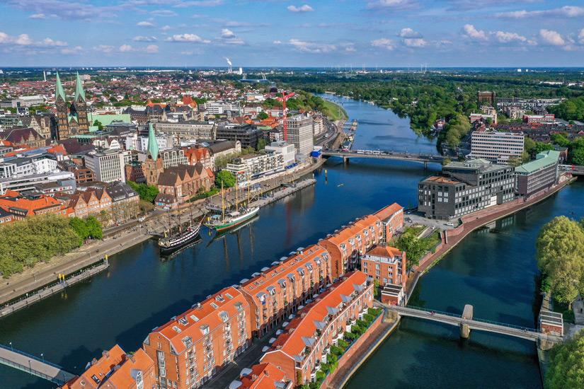 Altstadt von Bremen aus der Luft