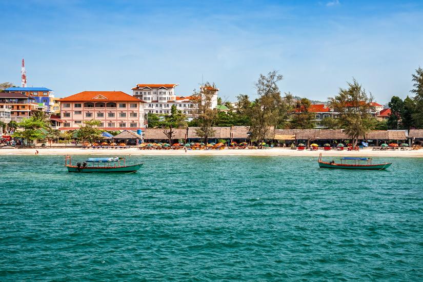 Blick auf Sihanoukville vom Wasser aus