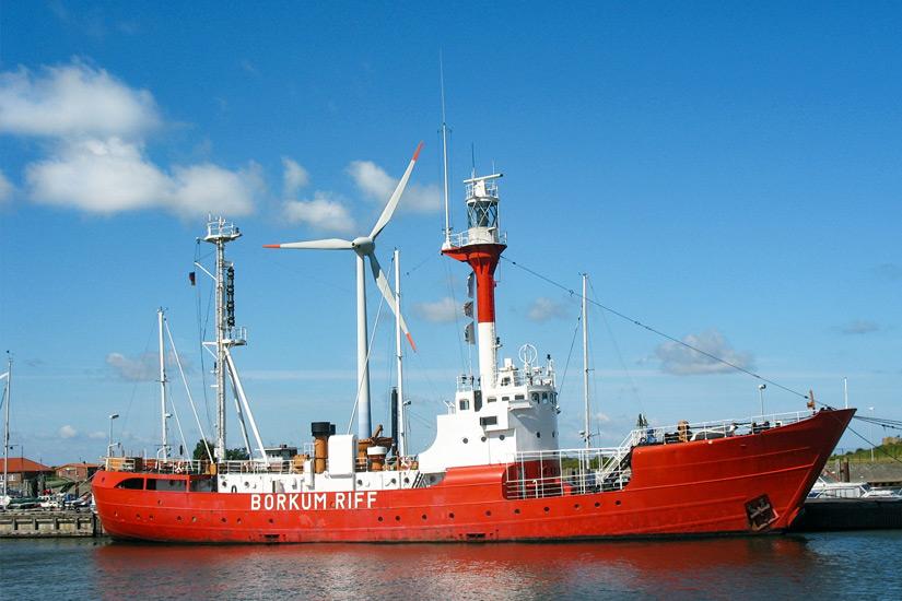 Das Museumsschiff Borkumriff im Schutzhafen