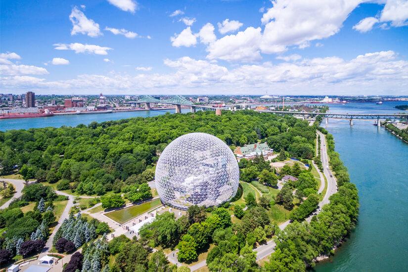 Stahlkugel Biosphere im Parc Jean Drapeau